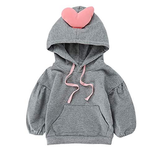 Allence Kleinkind-Baby Scherzt Mädchen-Jungen Herz-Taschen Drucken mit Kapuze Pullover Oberseiten Kleidung