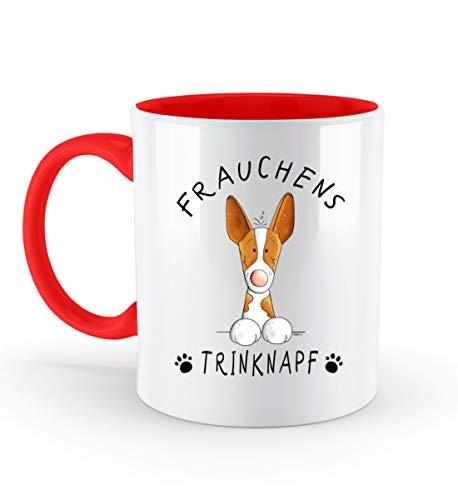 Shirtee Frauchens Bebedero Podenco taza de café I divertido hindú mujer perro perro regalo – taza bicolor rojo rubí 33 0ml