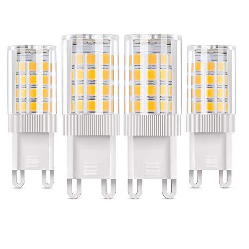 Vicloon Bombillas LED G9 de 5W, Equivalente Bombilla Halógena de 50W, 500LM 3000K Blanco Cálido G9 Lámpara LED, No Regulable, Angulo de haz de 360°, AC85-265V - Pack de 4 Unidades
