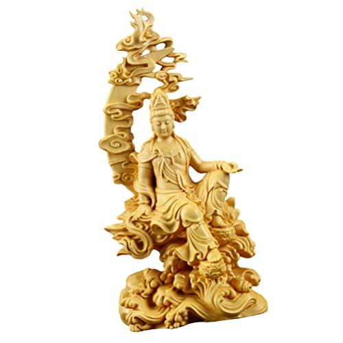 VORCOOL Guan Yin Estatua de madera Fengshui Buda chino Escultura de la suerte Kwan Yin Figura Kuan Yin Decoración para el Interior Inauguración de la Hogar Regalos 8.