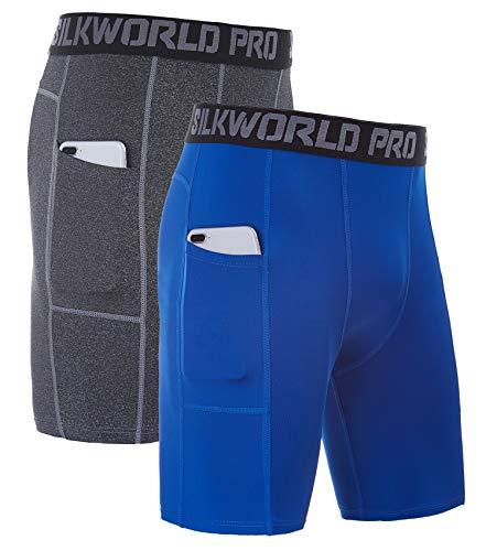 SILKWORLD Men's Compression Shorts Pockets Sports Running Tight(Pack of 2), Hemp Grey,Blue, Medium