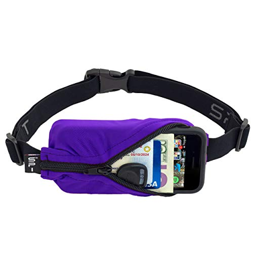 SPIbelt Running Belt Original Pocket No-Bounce Waist Bag for Runners Athletes Men and Women fits Smartphones iPhone 6 7 8 X Workout Fanny Pack Expandable Sport Pouch Adjustable Purple Black Zipper