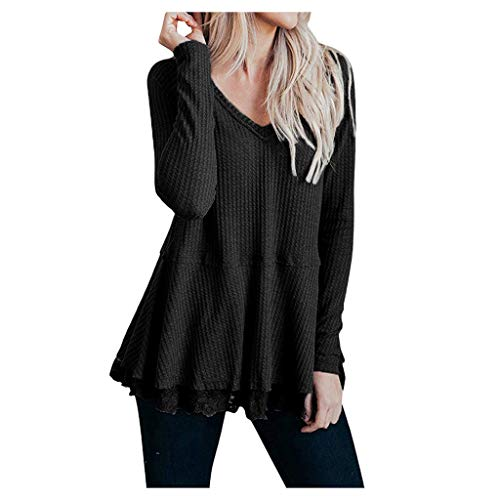 iHENGH Womens Casual Long Sleeve Knot Waffle Knit Tunic Lace Blouse Cute Shirts Tops(Schwarz-1, XL)