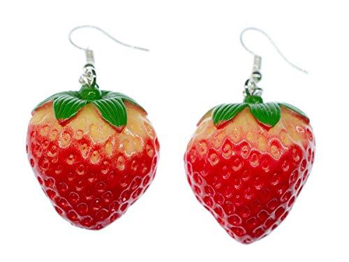 Orecchini a forma di fragola con gancio a forma di bacche, orecchini a forma di frutta per bambini smaltati