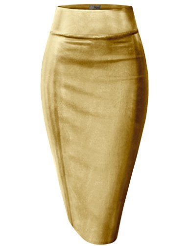 Hybrid & Company Womens Pencil Skirt for Office Wear KSK43584 3823 Gold XL
