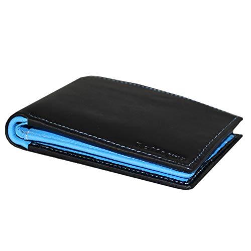Rallegra - Cartera de piel negra para hombre, bloqueo RFID, capacidad para 15 tarjetas, 4 bolsillos de almacenamiento, 2 compartimentos para notas con bolsa de presentación de regalo, interior azul