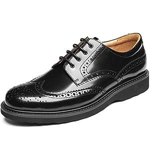 [J-WEWIN] 革靴 ビジネスシューズ メンズ 本革 黒 外羽根 紳士靴 ラウンドトゥ ドレスシューズ ウォーキング ウイングチップ 走れる 幅広 防滑 通気 防臭 抗菌スニーカービズ カジュアル フォーマル 冠婚葬祭