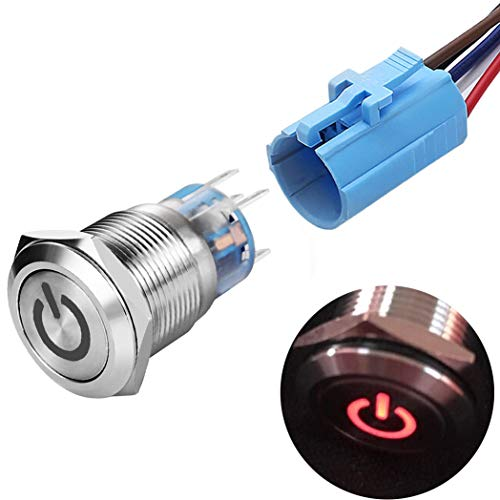 """Quentacy 19mm 3/4"""" Latching Pushbutton Switch LED 12V DC 5A 250V AC Power Symbol ON-Off Waterproof Toggle Switch Stainless Steel Shell with Wire Connector Plug(Red Light)"""
