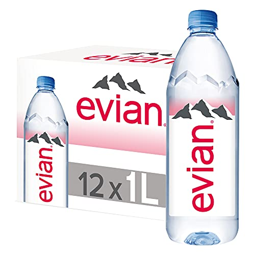 Evian Natural Mineral Water, 1 L, Pack of 12