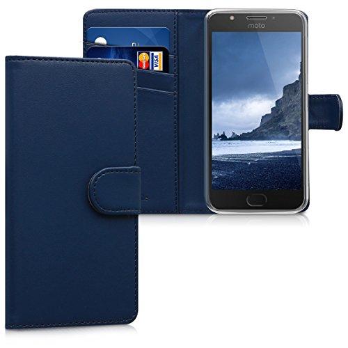 kwmobile Wallet Hülle kompatibel mit Motorola Moto E4 - Hülle Kunstleder mit Kartenfächern Stand in Dunkelblau