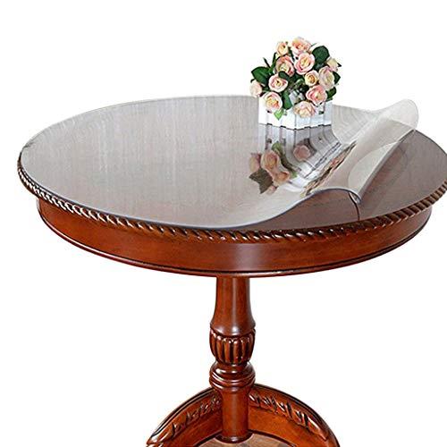 Ever Fairy Nappe de table ronde transparente en PVC imperméable, protection imperméable pour bureau, taille personnalisable, Plastique PVC, Épaisseur : 2 mm., Dia.110cm