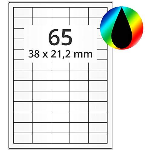 Labelident Inkjet Haftetiketten DIN A4-38 x 21 mm - 6500 Papieretiketten selbstklebend auf 100 Blatt, hochglänzend, weiß, Tintenstrahl Etiketten beschichtet