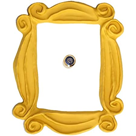 Handmade with Love by Fatima. Yellow Frame. It Includes a PEEPHOLE STICKER, It has Also Two Side Tape in The Back. Ready to Hang. Replica of The Frame seen in Monica's Door. Friends Present.