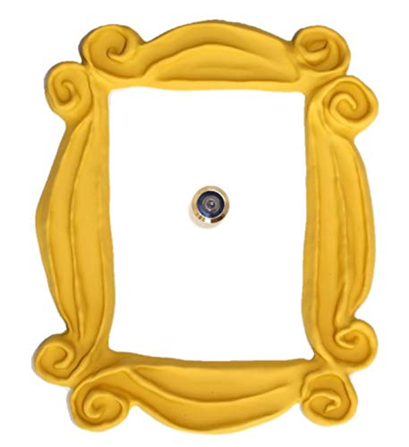 Handmade with Love by Fatima. Yellow Frame. It Includes a PEEPHOLE STICKER, It has Also Two Side Tape in The Back. Ready to Hang. Replica of The Frame seen in Monicas Door. Friends Present.