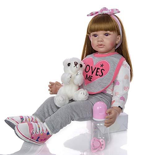 BIingkee Bambola Reborn Femmina 24 Pollici 60 CM Realistico Vinile Silicone Morbido Simulazione Bambino Bambole Reborn Toddler Babies Regalo di Compleanno Giocattoli Magnetico (882)