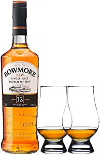 Bowmore 12 Jahre Islay Single Malt Whisky 0,7 Liter  2 Glencairn Gläser