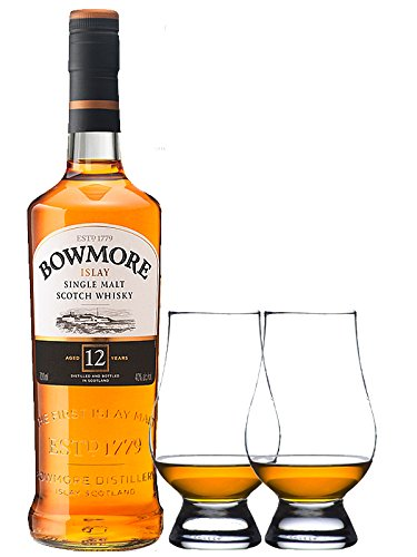 Bowmore 12 Jahre Islay Single Malt Whisky 0,7 Liter + 2 Glencairn Gläser