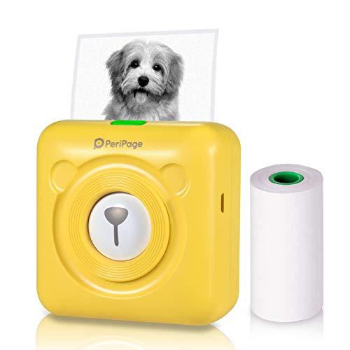 Aibecy PeriPage Mini Fotodrucker Wireless BT Thermodrucker Picture Label Memo Receipt Drucker mit USB Kabel fur Android iOS Smartphone Windows Gelb
