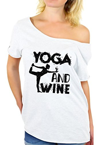 Awkward Styles Women's Yoga and Wine Graphic Off Shoulder Tops T Shirt Black Yoga Junkie White S