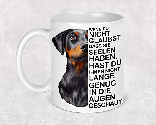 Tasse Kaffeetasse Kaffeebecher Becher Kaffee Hund mit Dobermann Hund Lustiger Spruch