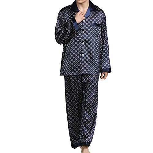 unknow YYXDP Herren-Pyjama-Set, NachtwäSche, Freizeitkleidung, Langarm-Pyjama-Anzug, Bedruckter Seidenpyjama, Traditioneller Zweiteiliger Herren-Pyjama