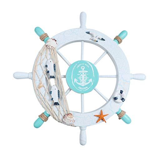 WINOMO Nautical Wooden Boat Steering Wheel Ornament Beach Wheel Wall Hanging Decorations for Coastal...