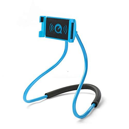 KAEHA Perezoso teléfono Titular,Universal Colgando en el Cuello Perezoso Titular de teléfono, DIY Libre Soporte Giratorio en la Tabla Funciones múltiples Smart teléfono (Azul)