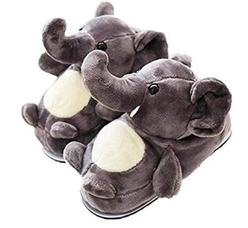 Candora Zapatillas de algodón elefante de felpa, cálidas para el invierno, zapatos de algodón de suela gruesa, color Gris, talla Large