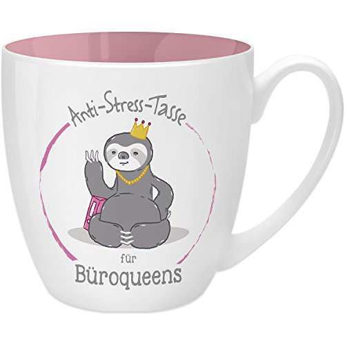 Gruss & Co 45488 Anti-Stress Tasse für Büroqueens, 45 cl, Geschenk, New Bone China, Rosa, 9.5 cm