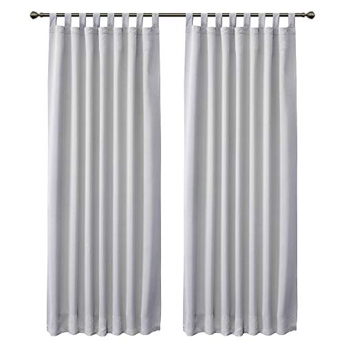FLOWEROOM Blackout Curtains for Bedroom, Tab Top Thermal Insulated Window Treatments Curtain for Living Room, 2 Panels, 175 x 140 cm, Grayish White