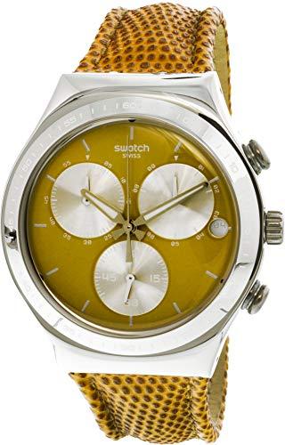 Swatch ironía ycs582Swiss de piel marrón de la mujer reloj de cuarzo