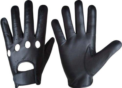 S-Products Gants d'hiver pour homme en véritable cuir aniline, classique - Noir L noir