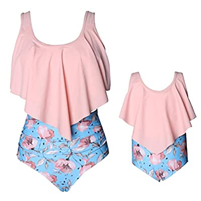Rysly Womens Girls Halter Top High Waisted Bathing Suits Ladies Swimwear Bikinis Set Pink Flower L