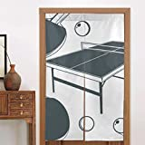 BISHUO Japanese Noren Tapestry Ping Pong Table, Ping Pong Racket, Ping-pong Small Ball Door Curtain Partition...