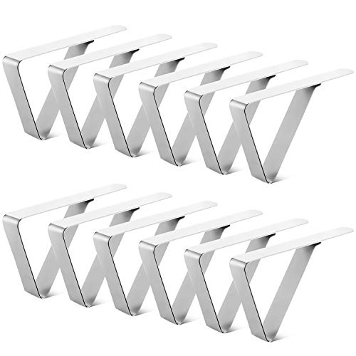 JINGMAX 12 Pack Tablecloth Clips, Table Cloth Cover Clamps, Picnic Tablecloth Clips, Stainless Steel Table Cloth Holders for Restaurant, Party, Camping, Wedding