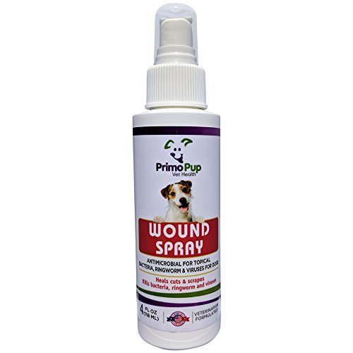 Primo Pup Vet Health – Antiseptic Wound Spray for Dogs – with Aloe, Calendula Flower & Eucalyptus Leaf – Veterinarian Formulated to Kill Germs, Soothe Cuts, Protect & Help Skin Heal – 4 fl oz