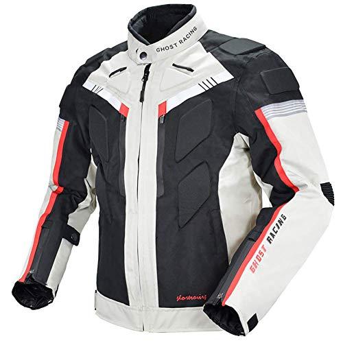 LALEO Chaqueta de Moto, Cuatro Estaciones Impermeable Resistente con Forro Cálido Extraíble Armours y Reflexivo Chaqueta para Motocicleta M-3XL Blanco Negro,XL