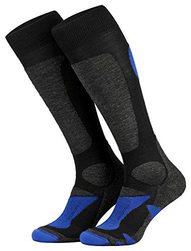 Piarini 2 Paar Unisex Skisocken Skistrumpf Herren, Damen und Kinder für Wintersport, Snowboard atmungsaktive Knie-Strümpfe Farbe Schwarz-Blau Gr.43-46