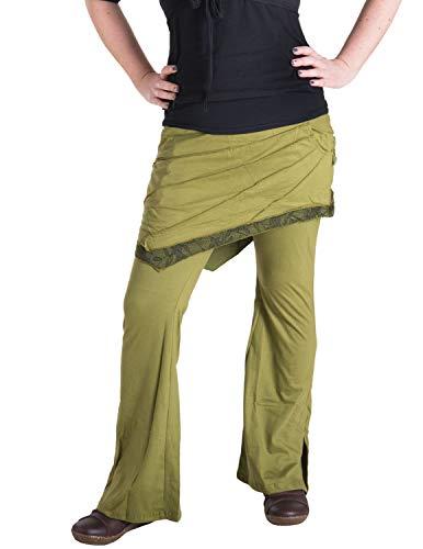 Vishes - Alternative Bekleidung - Hippie Schlag Hose mit asymmetrischem Patchwork Rock Olive 48