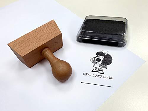 Sello exlibris con mango. Mafalda: ¡Este libro es mío! (SELLOS)
