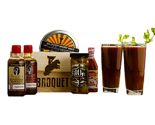 Bloody Mary Cocktail Kit (7 Piece Drink Set) - Comes in a Wooden Gift Crate - Bloody Mary Cocktail - Great Gift For Men - Awesome Gift For Guys