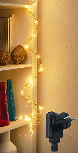 LED Lichterschweif /mit 200 LED beleuchtet / Timerfunktion / Dimmerfunktion / IP44 / Draht-Lichterkette - Lichterbündel - für Innen- & geschützten Außenbereich (LED: warmweiß | Draht: gold)