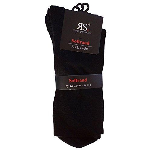 6 Paar Socken Pia RS Harmony Damen & Herrensocken ohne Naht Softrand Schwarz (47-50 Herren)