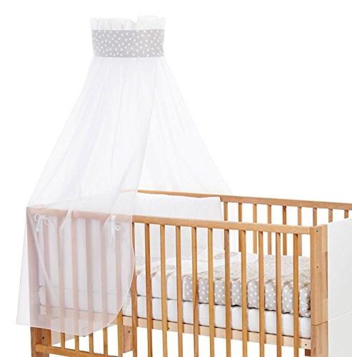 Babybay Ciel de lit pour enfant avec ruban pour application couronne/cœur Gris perle