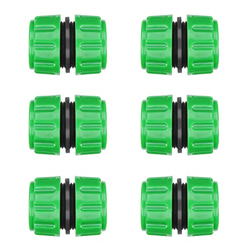 CaLeQi Extensor de Conector de reparación de Manguera para unión Conexión de reparación rápida de tubería de Manguera de jardín de 1/2 Pulgada 6 Piezas