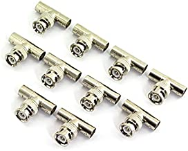 RuiLing 10pcs T Type BNC Male to Female 3 Way Adapter Plug for CCTV Camera Solderless BNC/Q9 Coaxial Cable Connector 1 to 2 Coupler