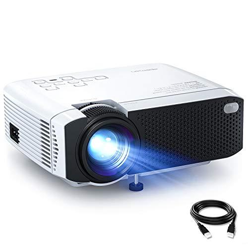 Proiettore APEMAN 5000 Lumen Mini Videoproiettore Portatile Doppio Altoparlante del LED fino 50000 Ore Cinema Domestico Compatibile 1080P HDMI/USB/VGA/Micro SD Supporto Android IOS TV Box