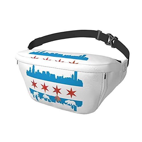 Chicago Flag Skyline Bear Bull Sling Bag Fanny Pack Crossbody spalla zaino per uomo donna leggero Casual Bustine Vita Daypack per Viaggi Palestra Sport Escursioni Ciclismo