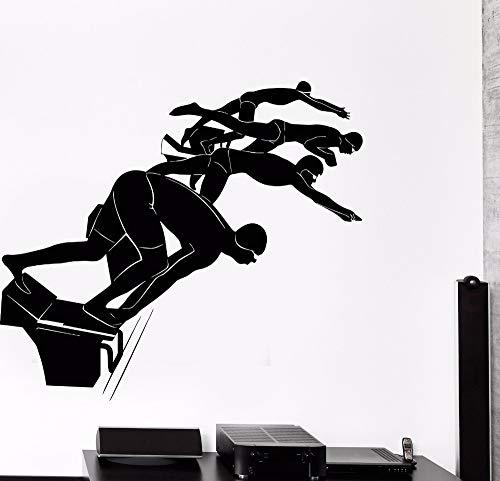 Geiqianjiumai Schwimmbrille Sport Schwimmbad Badezimmer Dekoration wasserdicht Aufkleber innenwandmalerei Dekoration 86,4x75,6 cm