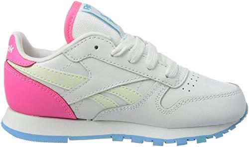 Reebok Mädchen Klassischer Leder-Turnschuh, White/Neon Blue/Solar Pink, 30 EU